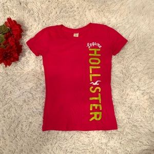 Hollister Hot Pink Lime Green Short Sleeve